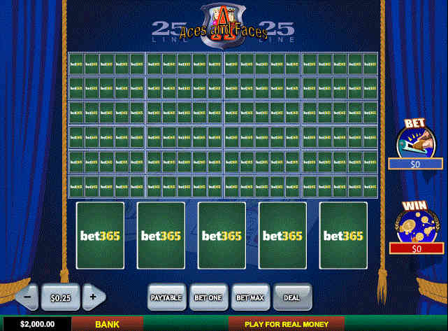 Play 25 Line Aces and Faces Video Poker Online at Casino.com India